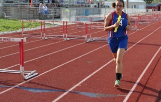 Running the girls 4x100 relay