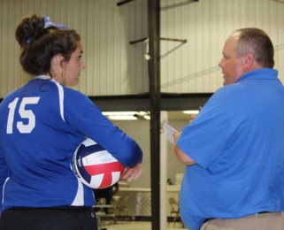 Coach giving some volleyball advice