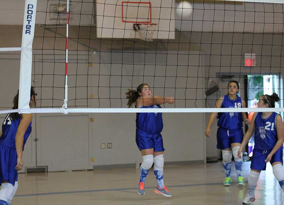 Bumping the volleyball