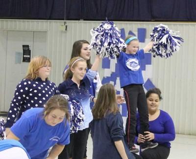 Cheerleaders showing school spirit