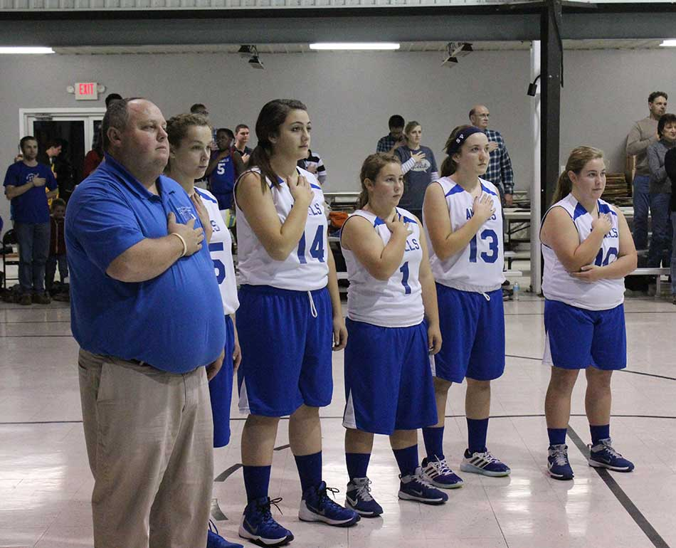 standing for the anthem before the game